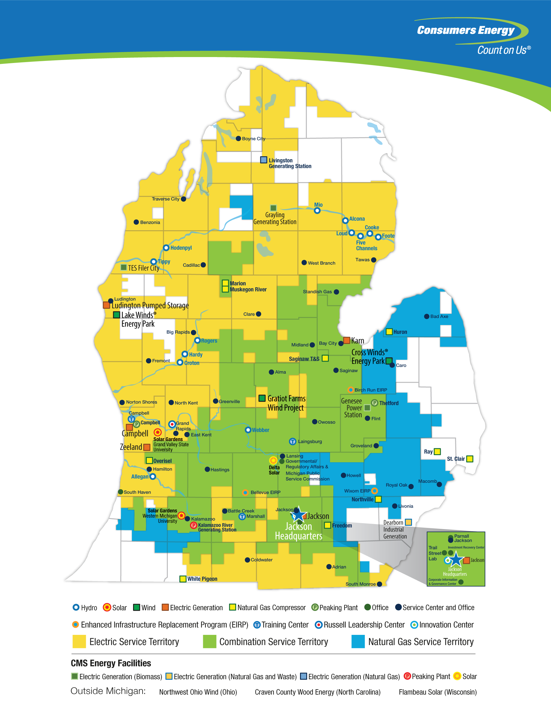 Electric and Natural Gas Service Territories | Consumers Energy
