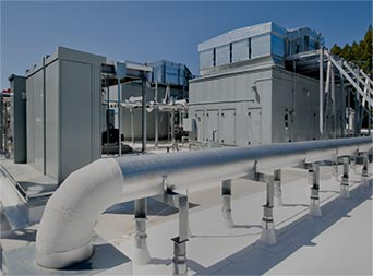 heating and cooling unit on a business roof