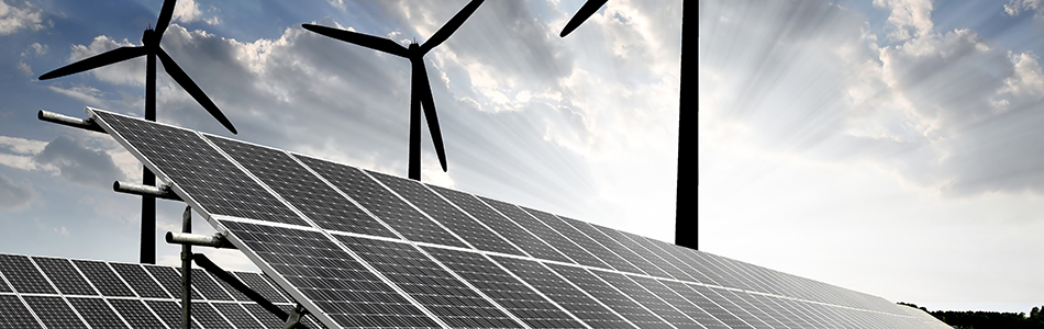 electricity generated from solar panels and wind turbines